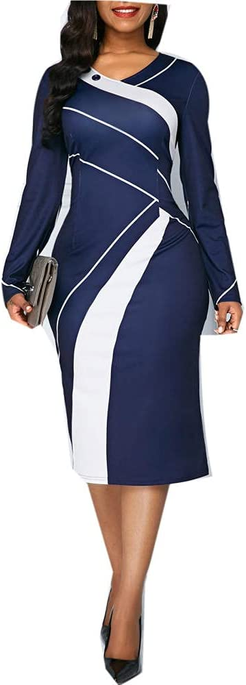 Plus Size Long-Sleeved Color Contrast Slim Fit Hip Pencil Skirt Professional Office Mid-Length Dress Women-Blue_XXXL