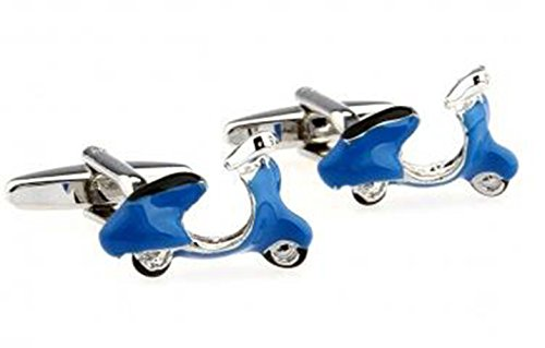 GuDeKe Electric Motorcycle Shape Cufflink Haut de Gamme Scooter électrique Boutons de Manchette en Forme de Boutons de Manchettes de Chemise français (Bleu)
