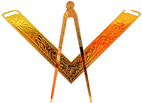 Masonic Lodge Ceremonial 6' INCH LARGE FREEMASON Square & Compass FOR Bible GOLD PLATED
