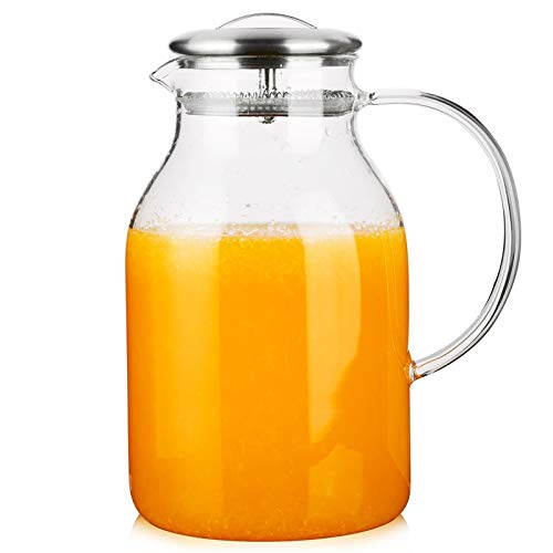 Hiware Glass Pitcher with Lid and Spout - 68 OZ Water Pitcher for Hot/Cold Water & Iced Tea, 18/8 Stainless Steel Lid, High Heat Resistance, 100% Lead-free