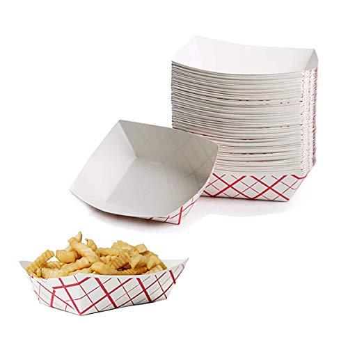 Papier Hot Dog Voedsellade, 150 Duurzame Vet Proof Paperboard Nachos Carnaval Concessie Stand Serveerboot Mand Houders voor Fries, Popcorn of Snacks door Upper Midland Producten
