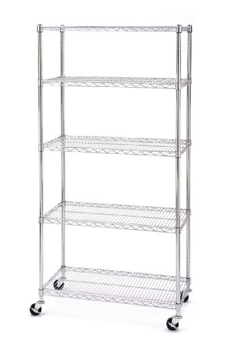 Seville Classics 5 Shelf, 18-Inch by 36-Inch by 72-Inch Shelving System with Wheels, NSF