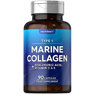 Marine Collagen Complex | 90 Capsules | + Hyaluronic Acid, Vitamin C & E | High Strength Type 1 Collagen Peptides | Non-GMO, Gluten Free Supplement | by Horbaach