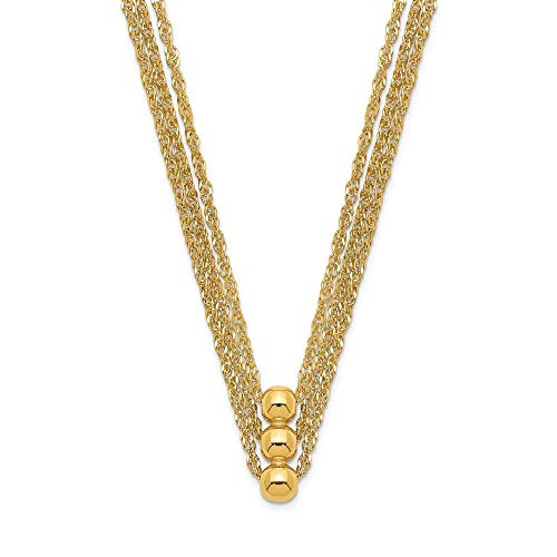 14k Yellow Gold 3 Strand Beaded Chain Necklace Pendant Charm Multi Layer Fine Jewellery For Women Gifts For Her