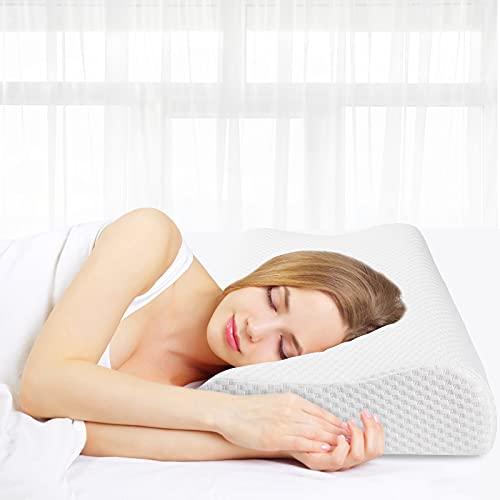 Almohada de Espuma con Memoria 60 x 35 cm, Almohada ortopédica de Apoyo para la Columna Cervical, Almohada para Dormir de Espuma de Gel viscoelástica, Almohada para Dormir con Cremallera Blanco