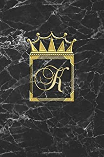 K: Personalised Journal Notepad Notebook (Blank Lined) Diary / Initial K Letter Monogram Notebook / Black And Gold Marble ...