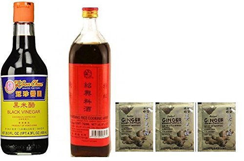 Koon Chun Black Vinegar 16.9 FL plus Shaohsing Rice Cooking Wine Plus  Instant Ginger Honey Crystals