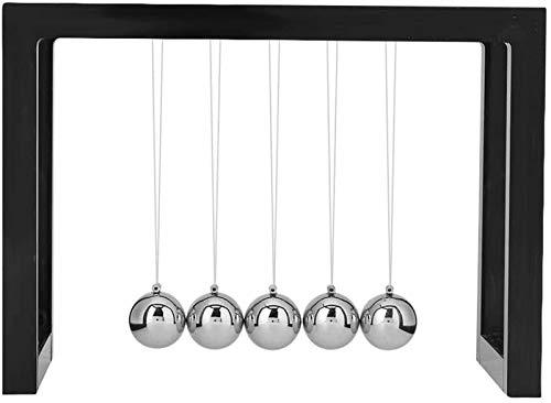 RENFEIYUAN Yinuoday Pendulum Ball, Cradle Balance Balls Metal Física Ciencia Péndulo Bola Inicio Oficina Decoración Ornamento Educativo Educativo Juguete Bolas de Newton (Color : Black)