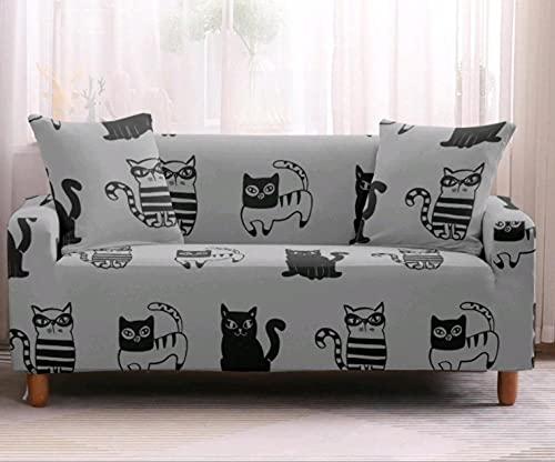 Fundas de Sofá Elasticas 3 Plazas Gato Gris de Dibujos Animados Negro Protector de sofá Funda Sofá Estampado Antideslizante Funda Elástico Universal Ajustables Protector Cubierta de Muebles