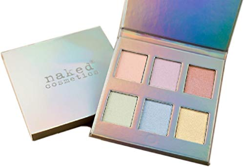 Naked Cosmetics HOLOGRAPHIC HIGHLIGHTER EYE-SHADOW PALETTE (6 Colors) Make up for Pros