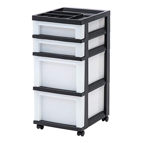 IRIS USA, Inc. MC-322-TOP 4-Drawer Storage Cart with Organizer Top, Pearl