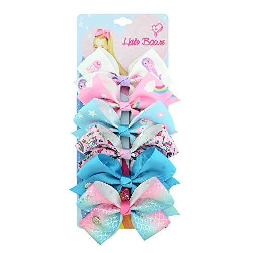 6Pcs/Set JoJo Siwa Bows, Hair Bows Alligator Clips for Girls Unicorn Grosgrain Ribbon Hair Barrettes Accessories for Toddler Kids Girls
