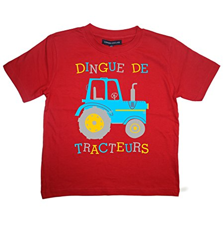 2-3 Ans Rouge Tee Shirt Dingue de Tracteur Design 3 with Saph, Yellow & Silver Print