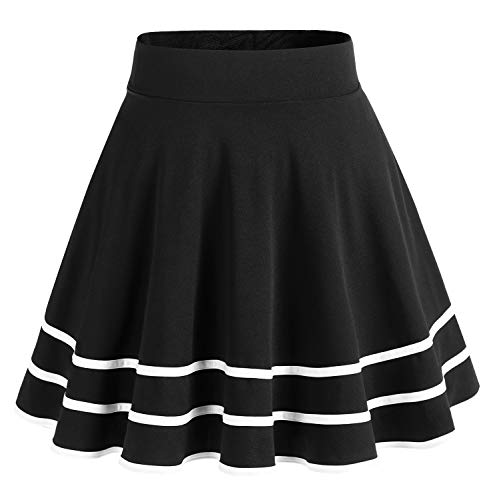 bridesmay Damenrock Basic Solid Vielseitige Dehnbaren Informell Minikleid Retro Mini Rock Faltenrock Black-White S