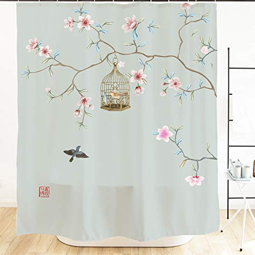 Ofat Home Japanischer Duschvorhang, chinesische Tinte, Malerei Pflaumenblüten & Vögel & Malerei künstlerische Badezimmervorhänge, 183 x 183 cm, Sets mit Haken Sc-Peach Blossom
