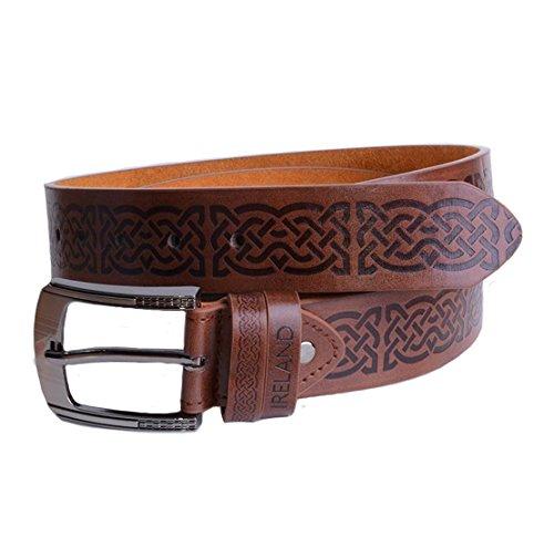 Brown Leather Belt With Celtic Symbols