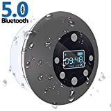 Shower Radio Bluetooth Speaker 5.0, CIYOYO Waterproof Wireless Bathroom Music with Suction Cup FM Microphone 10 Hours LCD Clock Display SD Card Playing