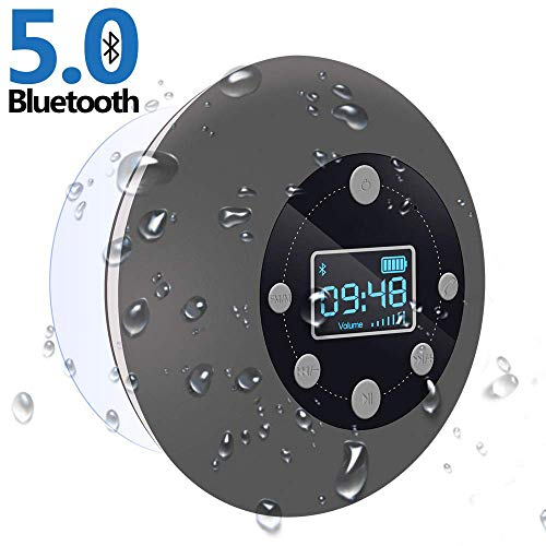 Shower Radio Bluetooth Speaker 50 CIYOYO Waterproof Wireless Bathroom Music with Suction Cup FM Microphone 10 Hours LCD Clock Display SD Card Playing