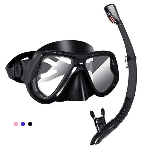 Kuyou Snorkel Set Volwassenen, Anti-Mist Droog Snorkel Set,Gehard Glas Scuba Duikmasker, Panoramisch Wide View Duikbril, Professionele Siliconen Snorkeling Gear