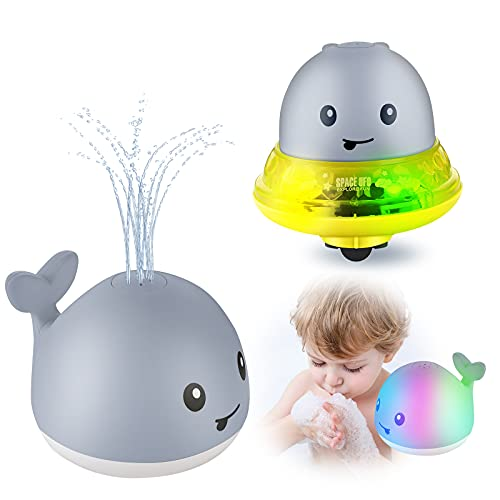EXTSUD Juguetes de Baño para Bebés Niños, 2 en 1 Juguete Eléctrico de Inducción de Ballena Con Rociar de Agua, UFO Space-car, Con Luces Intermitentes de Música