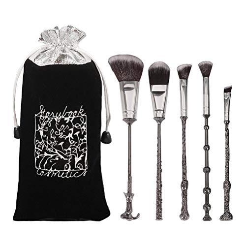 Harry Potter - Set di pennelli per il trucco con custodia, bacchetta magica Potter Magic Make Up Set di pennelli per fondotinta, eyeliner, ombretto, viso, labbra, fondotinta, cipria morbida