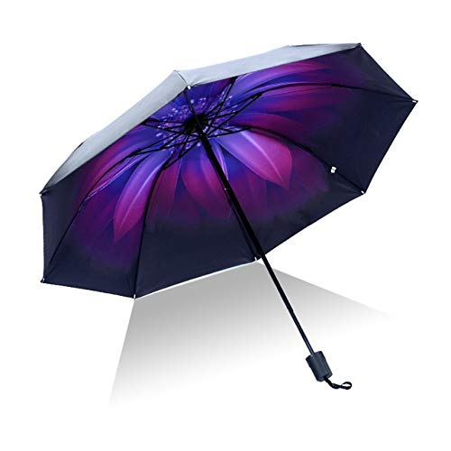 Mdsfe Paraguas Hombre lloviendo Mujer a Prueba de Viento Gran Flor 3D impresión Soleado Anti-Sol 3 Paraguas Plegable al Aire Libre - como imagen15, a2