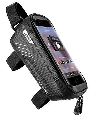 jixiejumo サドルバッグ 自転車 スマホホルダー 携帯ホルダー トップチューブバッグ フレームバッグ 防水 タッチスクリーン 6.5インチスマホ対応 大容量 黒