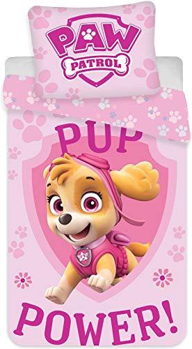 BrandMac ApS PAW Patrol Kinder-Bettwäsche-Set 135x200 80x80 Baumwolle Mädchen Skye