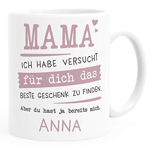 SpecialMe® Tasse personalisiertes Geschenk Spruch Papa/Mama Ich habe versucht für dich das beste Geschenk zu finden. anpassbarer Name Mama weiß Keramik-Tasse
