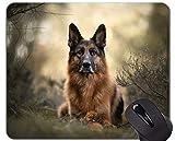 Yanteng Alfombrilla de ratón de Caucho Natural para Juegos, Impresa con Perro Pastor alemán Mascota - Bordes cosidos