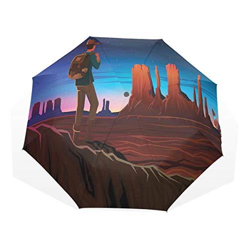 LASINSU Regenschirm,Monument Gasse mit frühem Tageslicht touristischem Hügel kampierender reisender Karikatur,Faltbar Kompakt Sonnenschirm UV Schutz Winddicht Regenschirm