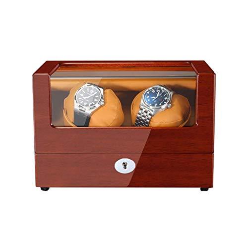 JHSHENGSHI Reloj enrollador para relojes automáticos con almohadas de reloj suaves y flexibles, alimentado con reloj de madera extremadamente silencioso, caja giratoria, regalo de vacaciones