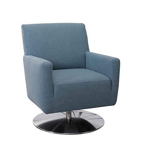 CAVADORE Drehsessel Barney mit Federkern / Drehbarer Armlehnensessel fürs Wohnzimmer / 68 x 84 x 71 / Strukturstoff, blau