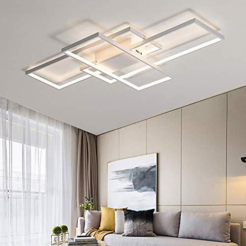 WohnzimmerLampe LED Deckenleuchte Dimmbar Deckenlampe 80W Modern Eckig Design Decke Lampe Aluminium Lampenschirm Pendelleuchte Wohnzimmer Lampen Schlafzimmerlampe Esszimmerlampe Küchelampe (Weiß)