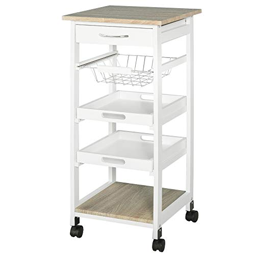 HOMCOM Küchenwagen, Küchenrollwagen, Servierwagen mit Schublade, Abnehmbares Tablett Kiefer Weiß 37 x 37 x 82 cm