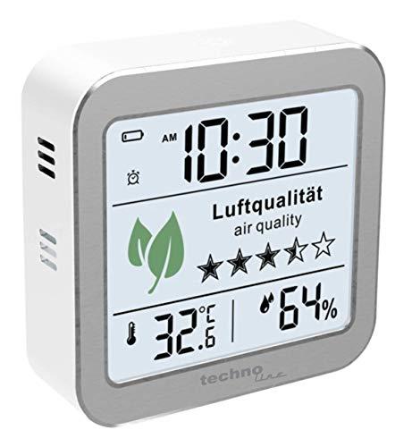 technoline WL1020 Luftgütemonitor zur Überwachung der Raumluftqualität, Nachfolger des WL1005, Temperaturanzeige, Luftfeuchteanzeige, Alarm bei schlechter Luftqualität, silber, weiß