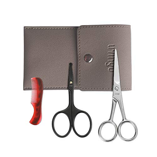 LIVINGO 4.5 inches Beard & Mustache Scissors for Men, Professional Rounded Tip Safety Sharp Stainless Steel Small Beauty Facial Nose Hair Trimming Shears Kit with Mini Comb and Leather Case