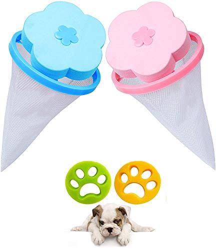 Depiladora para mascotas + filtro de pelo, herramienta de depilación, pelo de gato y lavadora, filtro de pelusa reutilizable para todas las mascotas (4 PACK)