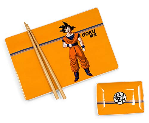 JUST FUNKY Dragon Ball Z Goku 3-Piece Japanese Dinnerware Ceramic Sushi Set | Kitchen Set