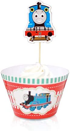 Finex Thomas the Train 12 pcs Set Cupcake Wrappers and 12 Toppers Decoration for Kids Girls product image