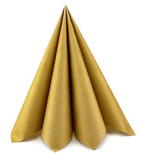 Deko Angels 100 Stück Papierservietten Gold 40 x 40 cm (0,20€/Stück) Servietten Tissue 3-lagig Tischdeko Hochzeit Mundservietten zum Falten von FINEMARK