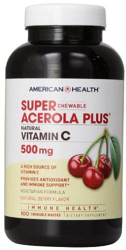 American Health - Super Acerola Plus Natural Vitamine C à macher Berry 500 mg - 100 Chewable plaquettes