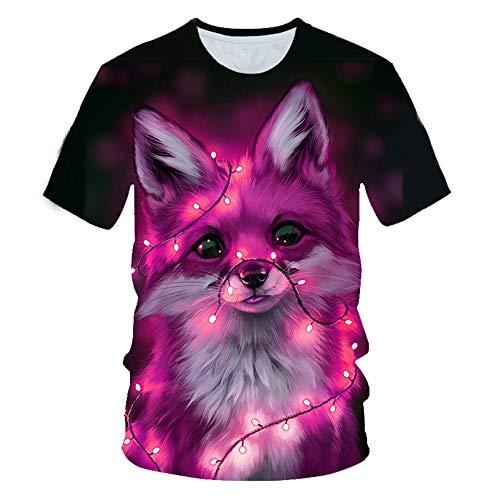 XKDZT Animal Fox T-Shirt Imprimé 3D Été Hommes À Manches Courtes Unisexe Streetwear Fashion Tops-6XL