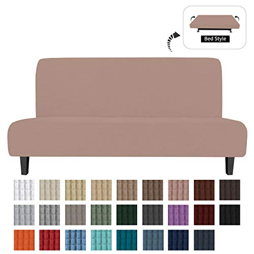 Mejor Easy-Going Fleece Stretch Sofa Slipcover – Spandex Anti-Slip Soft Couch Sofa Cover, Armless Washable Furniture Protector with Elastic Bottom for Kids, Pets(Futon,Chocolate) crítica 2020