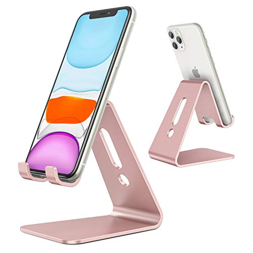 OMOTON Desktop Cell Phone Stand [Updated Solid Version], Advanced 4mm Thickness Aluminum Stand...