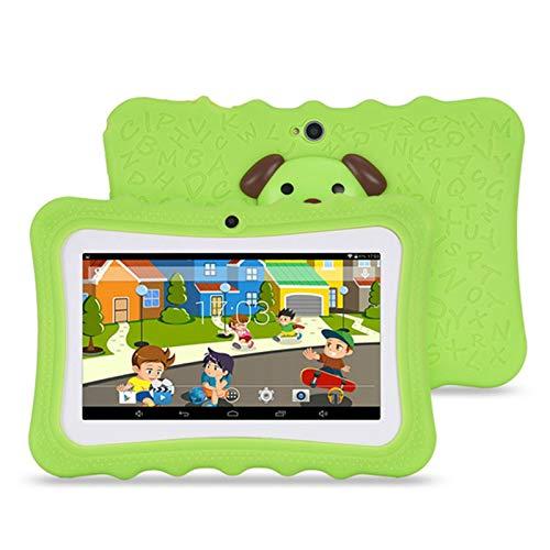 LTLJX Tableta para niños, Tableta de Pantalla HD de 7 Pulgadas con Caja de Silicona a Prueba de niños, núcleo cuádruple, 32GB, WiFi, cámara Frontal y Trasera, PlayStore, Youtube, Android 4.4,Verde