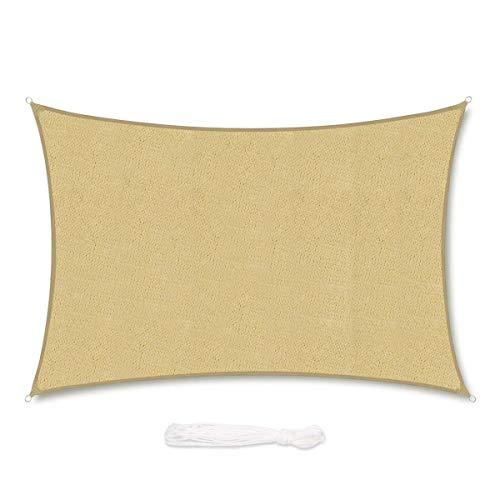 Sekey Vela Parasole Rettangolare Traspirante Permeabile in HDPE Protezione Antivento per Giardino Terrazza Campeggio Patio Party, con Corda, 4×5m Sabbia