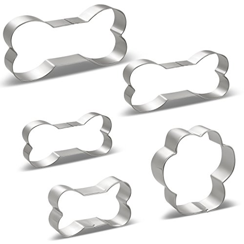 Dog Treat Cookie Cutters Dog Bones 4 Various Size, Large/5.3 Inches, Medium/4.5 Inches, Small/3.9 Inches, Mini/3 Inches and Paw Print - Stainless Steel 5 PCS