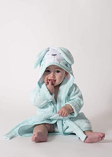Ti TIN -Albornoz Infantil con Capucha 100% Algodón Suave y Absorbente con un Diseño de Orejas de Conejito Color Turquesa, Talla Bebés de 6 meses a 1 año.