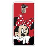 Funda para BQ Aquaris U Plus Oficial de Clásicos Disney Minnie Fondo Rojo para Proteger tu móvil. Carcasa para BQ con Licencia Oficial de Disney.